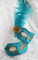 Fun Blue Satin Couples Masks by DaraGallery