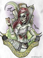 Zombie Rock Chick Custom Tattoo Design by MissMisfit13