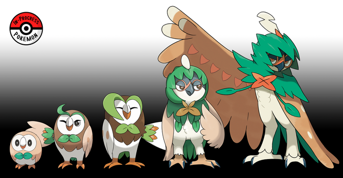722 - 724 Rowlet Line by InProgressPokemon