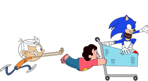 Steven, Sonic, and Lincoln shopping by PyroManiac75