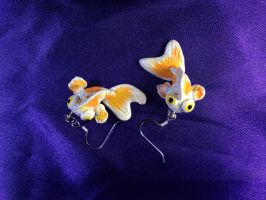 White and Orange Telescope Goldfish Earrings by omfgitsbutter