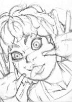 Funny Face Girl Sketch Card WIP by ibroussardart