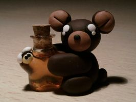 Bear with bottle fimo by bimbalove81