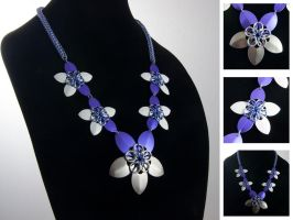 Purple Flower Drape Necklace by chef-chad