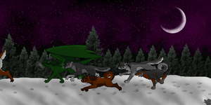 Dragon and Her Pack by DragonThunderstorm