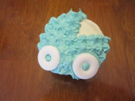 Baby Shower Cupcakes- baby carriage, boy by Angel-Of-Tricks