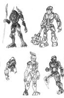 Bionicle - Potential MOC Sketches by 0nuku