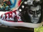 Custom Sweeney Todd Chuck Taylor Shoes...airbrush by mjmaehem11