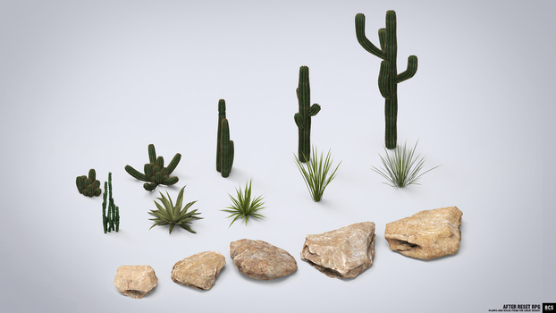 GAME OBJECTS: Desert Plants and Rocks by blackcloudstudios