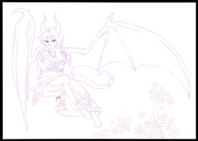 Spring-time Succubus--Lineart by Lyiba-MoonEyes