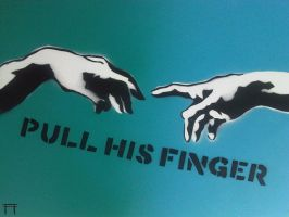 Pull His Finger - Green + Blue by GateGraffiti