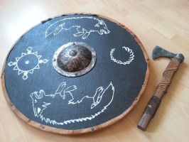 Viking shield and axe comission by Blackwoodforest