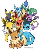 Eevee and it's evolutions by Kalinel