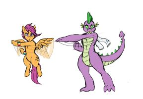 Posing Spike and Scootaloo by LurkingTyger