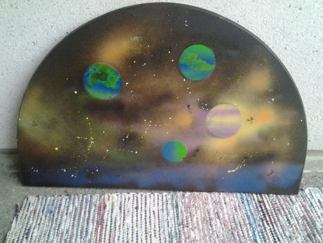 Space Theme spray painting by Toumei