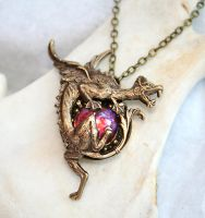 Dragon's Breath Opal Necklace by byrdldy