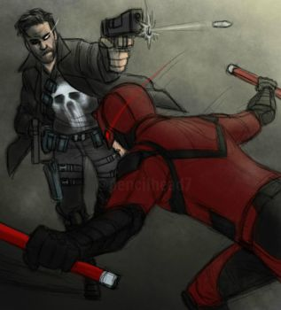 Punisher and Daredevil by pencilHead7