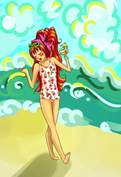 30 Day OC Challenge~ Day 11~ at the Beach by crownlaurel