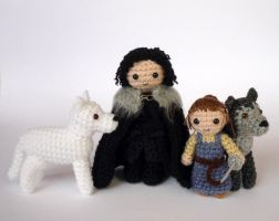 Jon, Ghost, Arya and Nymeria by LunasCrafts