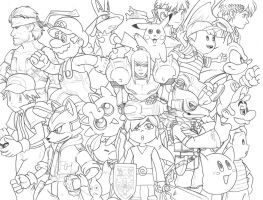 Smash Bros Lineart by AIBryce