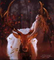 Deer and girl by annemaria48