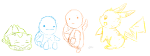 RBY Starters in Paint by ajlotus