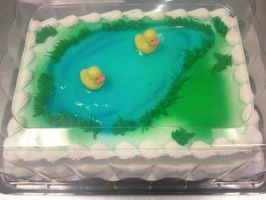 Duck Pond Cake by AingelCakes