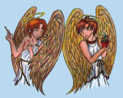 Feliciano and Lovino Angels by Kasandra-Callalily