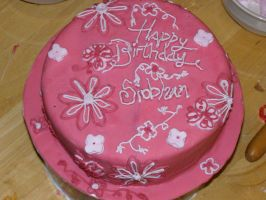 pink flowers cake by mannafig