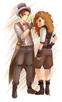 Doctor/River Steampunk by oceancommissions