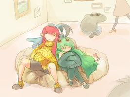Asleep together at the museum by Tuyoki