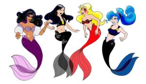 Non Princess Goth Mermaids by FireWolfWitch