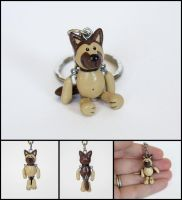 German Shepherd Dangle Keychain Charm by WispyChipmunk