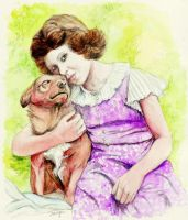 Princess Elizabeth and corgi by morgansartworld