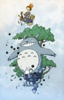 Totoro and Kiki Commission by darrenrawlings