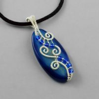 Blue Agate and Sterling Silver Necklace by Gailavira