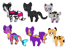 6 cats adoptables cute Open by Yesterday-Torrey