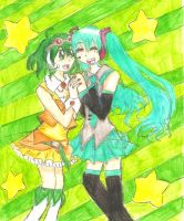 Vocaloid: Green BFFs by freaky-anime-doodler