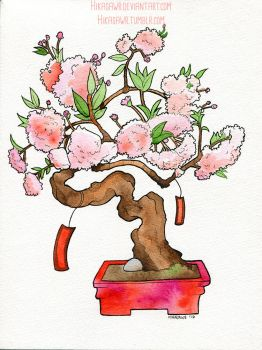 World's Watercolor Month - Day 21 : Bonsai by Hikasawr