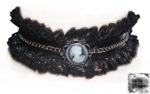 Victorian Goth Cameo Chain Choker by TheoGoth