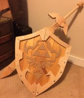Wooden Hylian Shield and Master Sword by chikeon123