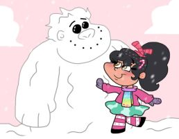 Vanellope and her Snowman by Cookie-Lovey