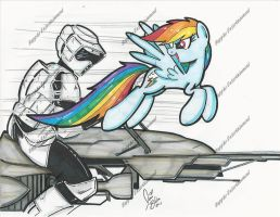 Rainbow Dash vs Scout Trooper by PonyGoddess