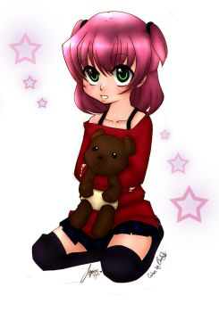 COLORS Lovely Girl with Bear by tesumii