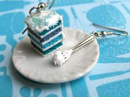Razpberry Cake with Icing on Fork Earrings by MyLitteLunchBox