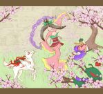 Blossoms in the Wind -Okami- by squidlarkin