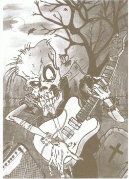 Skeleton playing the guitar by SarahZaz