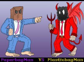 PaperbagMan VS PlasticbagMan by Lordwormm
