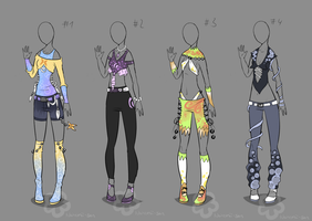 Some Outfits to adopt - sold by Nahemii-san