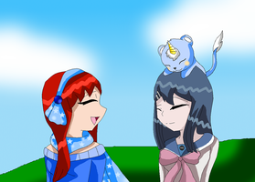 Alessy and Villy and Sayaka by HeroHeart001
